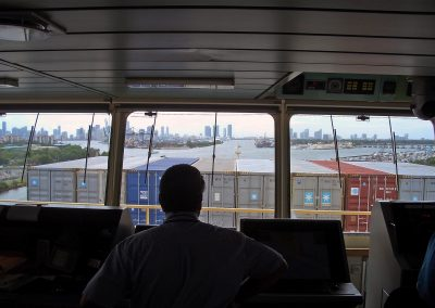 pilots view obscured by cargo containers