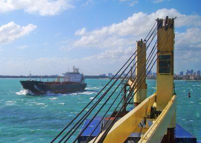 ships meet in waves